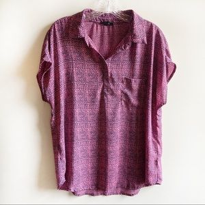 Pleione popover shirt pink navy print short sleeve